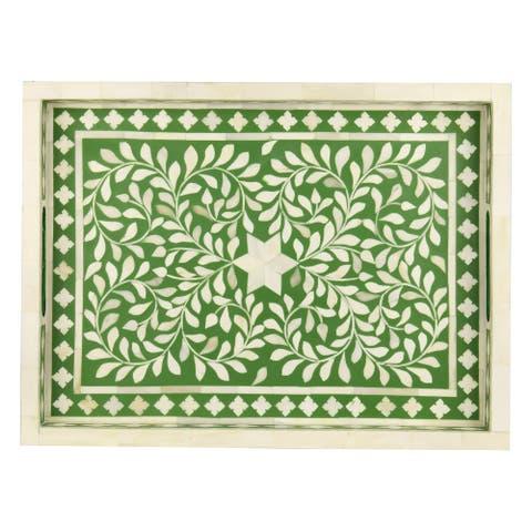 "GAURI KOHLI Jodhpur Bone Inlay Decorative Tray in Forest Green - 20"" X 15"""