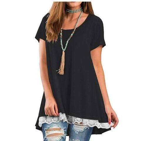 Women's Lace Long Sleeve And Short Sleeve Tunic Top Blouse