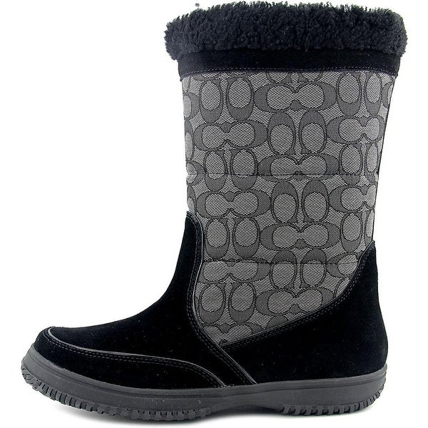 Coach Womens Sherman Sig Suede/Sig Closed Toe Mid-Calf Cold Weather Boots