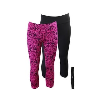 Ideology Pink Printed Black Cropped Leggings And Headband Gift Set M