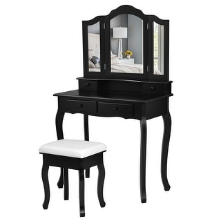 Gymax Bathroom Vanity Jewelry Makeup Dressing Table Set With Stool 4 Drawer Folding Mirror Black