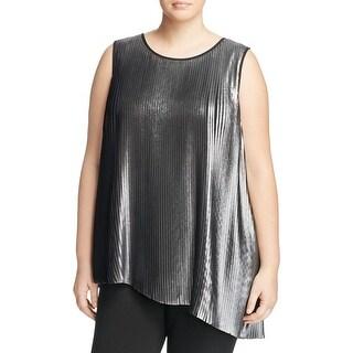 Daniel Rainn Womens Plus Casual Top Metallic Sleeveless