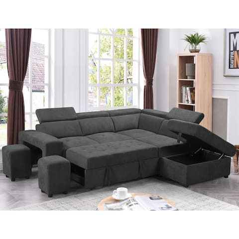 Copper Grove Ajibade Woven Fabric Sleeper Sectional Sofa