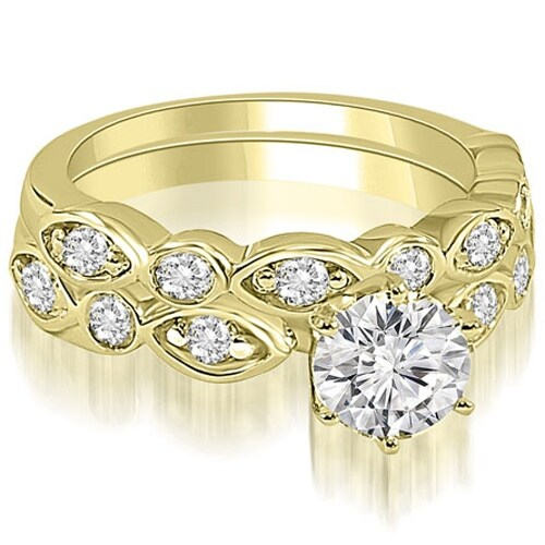 1.40 cttw. 14K Yellow Gold Antique Round Cut Diamond Bridal Set