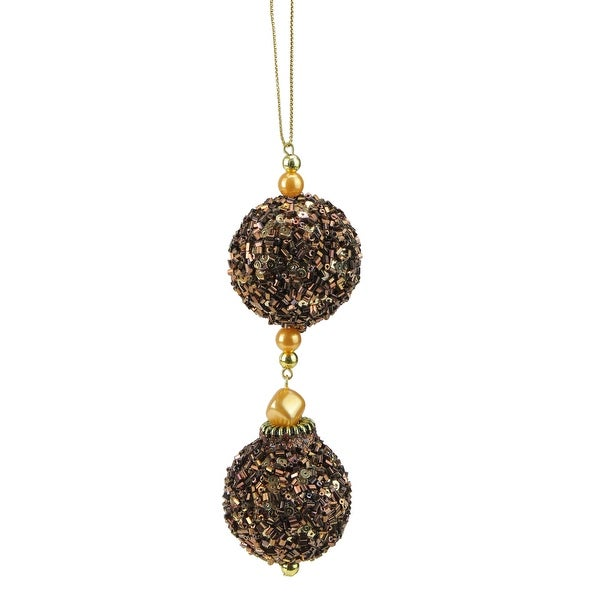 """Chocolate Shop Brown Balls Rolled in Glitter Christmas Ornament 5"""""""