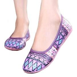 Weaved Soft Sole Rubber Women Thin Shoes purple 35