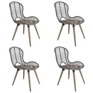 vidaXL Dining Chairs 4 pcs Brown Natural Rattan
