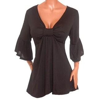 Funfash Plus Size Empire Waist Slimming New Womens Black Top Shirt