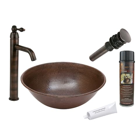 Premier Copper Products BSP1_VR15WDB Vessel Sink, Faucet and Accessories Package