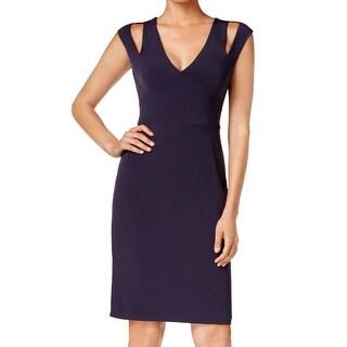 Calvin Klein NEW Blue Women's Size 2 V-Neck Cutout Sheath Dress