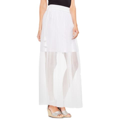 Vince Camuto Side Tie Mesh Overlay Maxi Skirt, White, Large