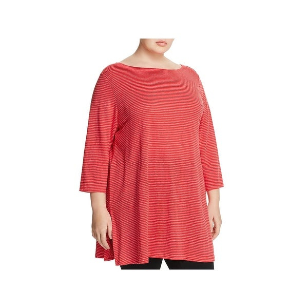 Eileen Fisher Womens Plus Tunic Top Linen Bateau Neck