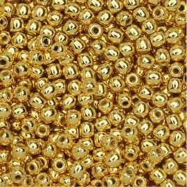 True2 Czech Glass, Round Druk Beads 2mm, 200 Pieces, 24K Gold Plated