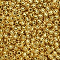True2 Czech Glass, Round Druk Beads 2mm, 200 Pieces, 24K Gold Plated