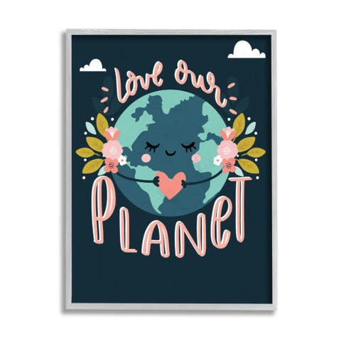 Stupell Industries Love Our Planet Phrase Floral Cartoon Earth Framed Wall Art