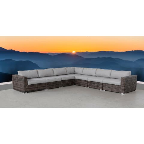 LSI 7 Piece Rattan Sectional Seating Group with Cushions