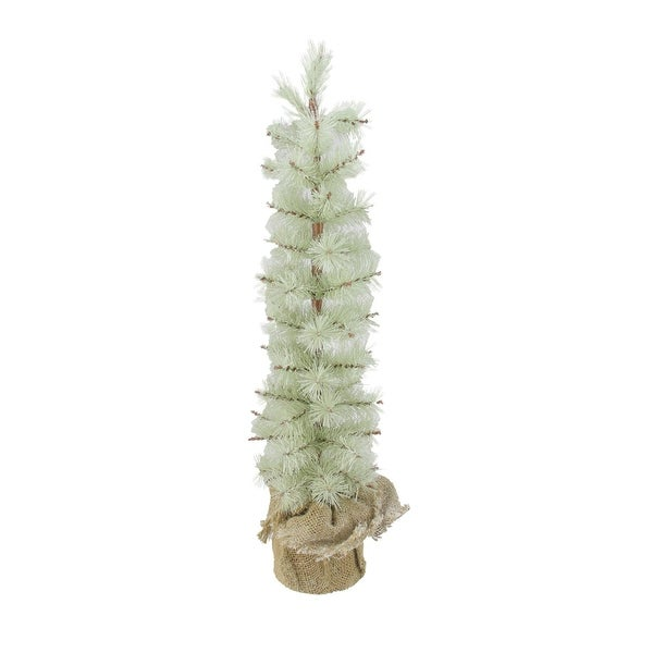 2 silent luxury frosted green pine artificial christmas tree with burlap base