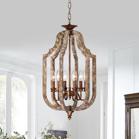 Wood and Antique Gold 6-Light Cage Lantern Pendant