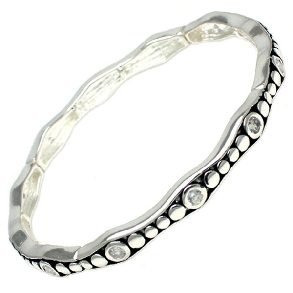 """Antique Silver Plated Retro Style & CZ Brass Bangle - Inside Circumference: 6"""""""