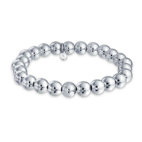 Round Ball Bead Strand Bracelet Shinny High 925 Sterling Silver