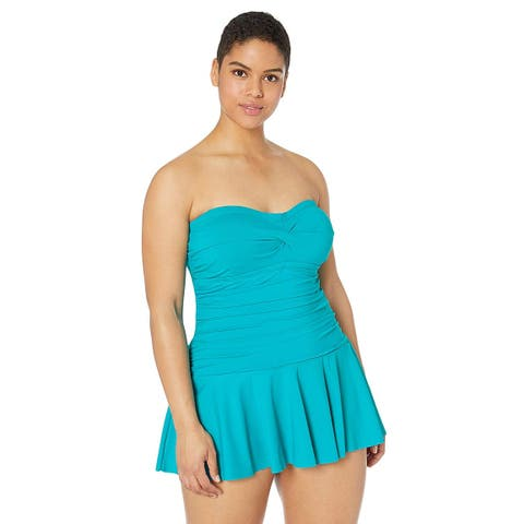 Chaps Women's Plus Size Rouched Bandeau Skirted, Blue Lagoon//Solids, Size 16.0 - 16