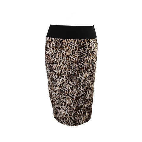 Inc International Concepts Brown Cheetah Print Pull-On Pencil Skirt S