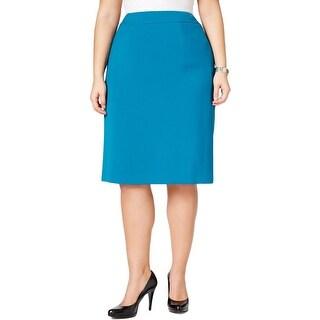 Tahari ASL Womens Plus Pencil Skirt Ponte Hidden Back Zipper