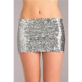 Be Wicked BW1677SL M Sequin Skirt, Silver - Medium