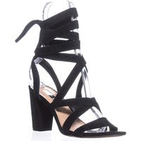 I35 Kailey Lace-Up Block-Heel Sandals, Black Suede