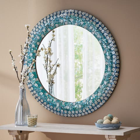 """Redett Boho Handcrafted Round Mosaic Wall Mirror by Christopher Knight Home - 36.00"""" L x 1.00"""" W x 36.00"""" H"""