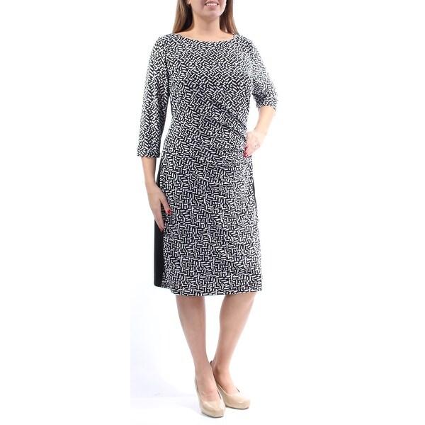RALPH LAUREN Womens Black Geometric 3/4 Sleeve Boat Neck Below The Knee Shift Dress Plus Size: 14W