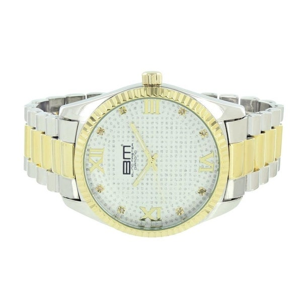 Mens Presidential Watch 2 Tone Silver / Gold Tone Fluted Bezel Roman Index Mark