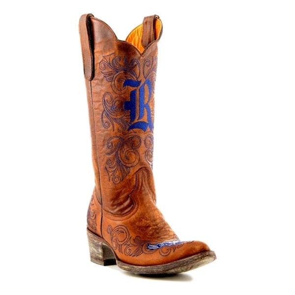Gameday Boots Womens College Team Rice Owls Brass Blue