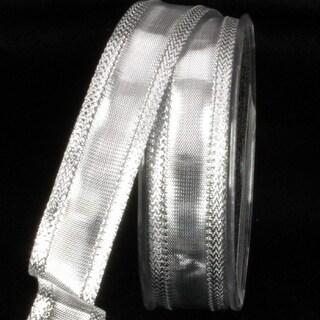 "Pack of 4 Metallic Silver Chefron Lame Craft Ribbon 7/8"" x 108 Yards"