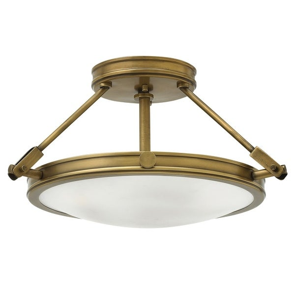 """Hinkley Lighting 3381 Collier 3 Light 16-1/2"""" Wide Semi-Flush Bowl Ceiling Fixture with Etched Opal Glass Shade"""