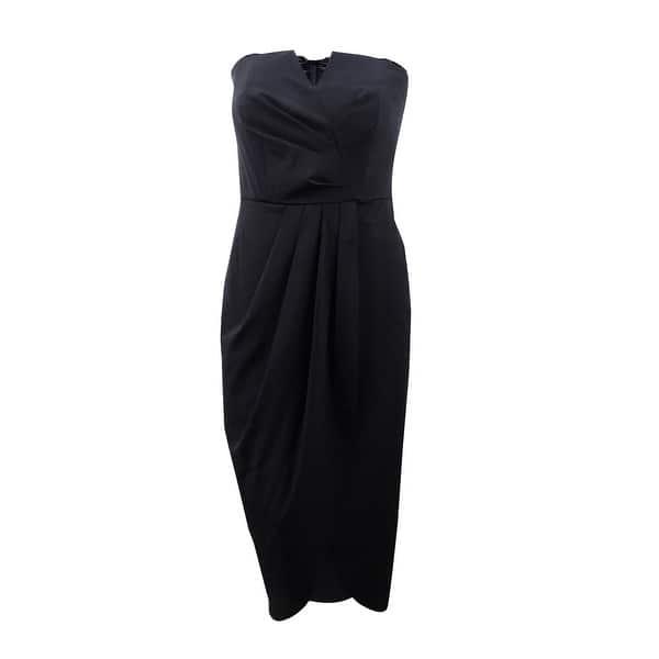 City Chic Women\'s Plus Size Draped Maxi Dress (S/16W, Black) - Black - S/16W