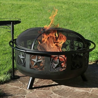 Sunnydaze 30 Inch Black All Star Fire Pit with Cooking Grate & Spark Screen