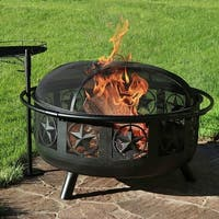 Sunnydaze 30-Inch Black All Star Fire Pit with Cooking Grate and Spark Screen