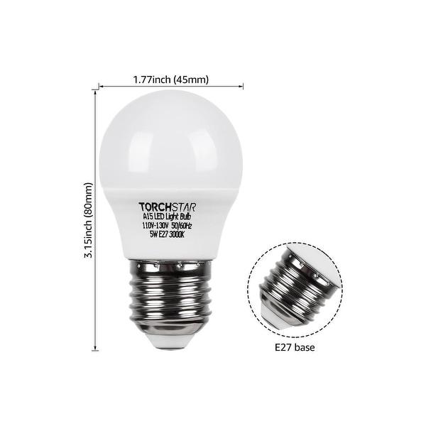 6PACK 5W A15 LED Light Bulb, 40W E26/E27, 3000K - 3000K Warm White