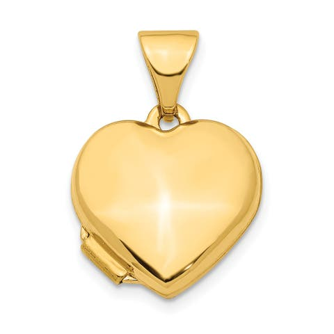 14K Yellow Gold Heart 13mm Locket Pendant with 18-inch Cable Chain by Versil