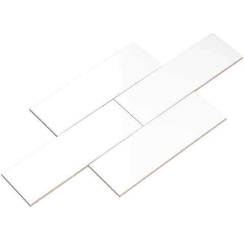 Giorbello White Ceramic 4x12 Subway Tiles (Case of 11 Sq Ft)