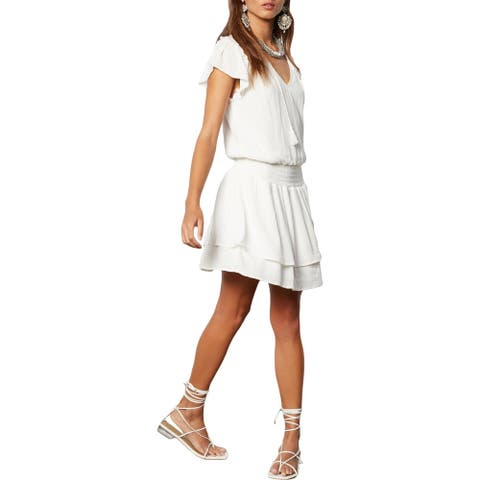 Tart Collections Yara Women's Crinkled Flutter Sleeve Blouson Midi Dress - White