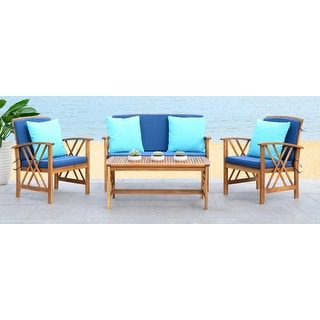 Shop Safavieh Outdoor Living Ozark Brown/ Navy Acacia Wood ... on Safavieh Outdoor Living Montez 4 Piece Set id=70228
