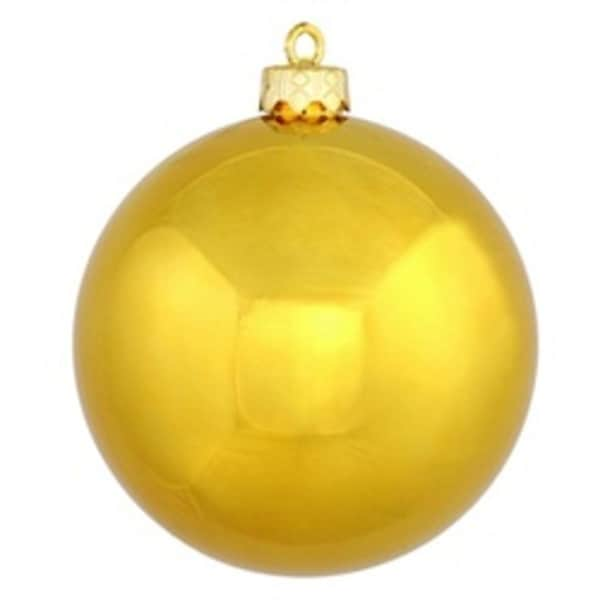 "Shiny Antique Gold UV Resistant Commercial Shatterproof Christmas Ball Ornament 4"" (100mm)"