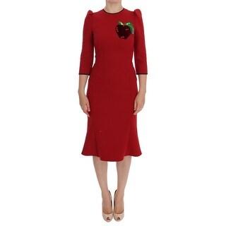 Dolce & Gabbana Dolce & Gabbana Red Wool Stretch Apple Crystal Dress - it38-xs