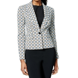 Nine West NEW Black Blue Women's Size 16 Notch-Collar Geo-Print Jacket