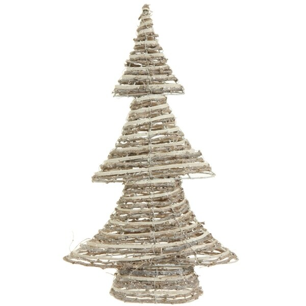 """18.5"""" Winter Light Brown and White Glittered Rattan Decorative Christmas Tree - Unlit"""