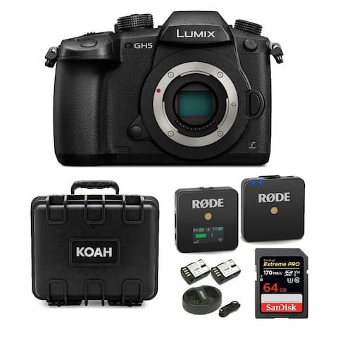 Panasonic Lumix GH5 4K Mirrorless Camera with Microphone & Case Bundle