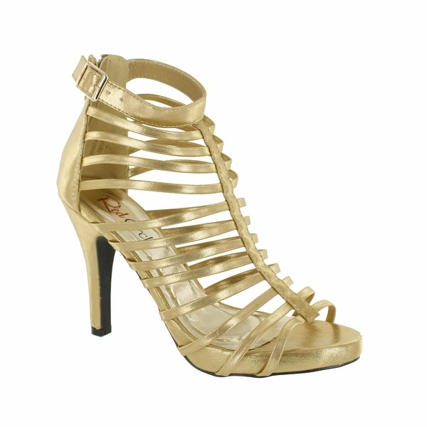 Red Circle Footwear 'Amauri'  High Heel Gladiator Sandal in Gold