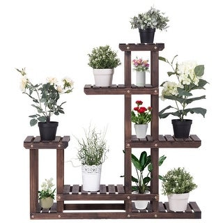 Costway Outdoor Wooden Plant Flower Display Stand 6 Wood Shelf Storage Rack Garden - Brown